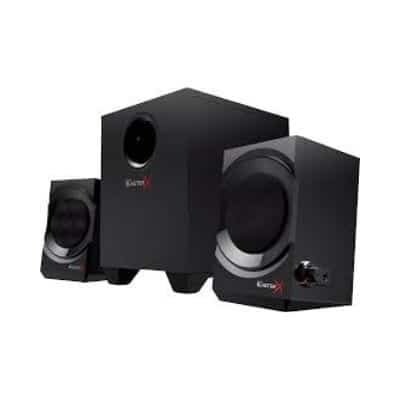 Good computer speakers for a cheap price, these Creative BlasterX Kratos S3. They also have a really good subwoofer for an amazing gaming experience. You can also connect headphones directly to the speakers if the family thinks it's too much noise.