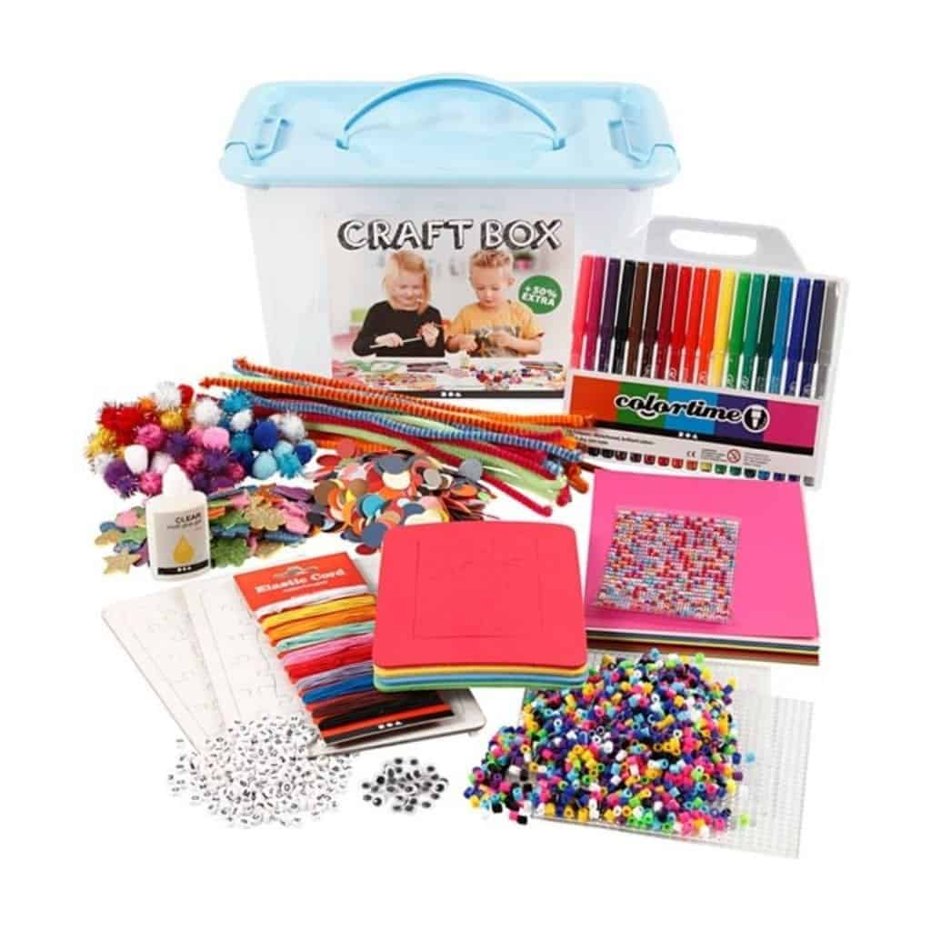Crafting kit with a little of each of such eyes, pompom balls,  stickers, pipe cleaners, felt, plastic foil, markers, scissors, beads, glue. A really good gift for an 11-year-old who likes to get involved. This package will go a long way and be lots of fine crafts