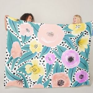 Colorful Fleece Blanket Floral Polka Dots gifts for boyfriend's mum