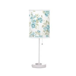 Table Lamp with Olive Green Aqua Turquoise Floral Design