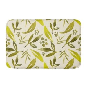 Bath Mat with Botanical Sage Green Leaf Pattern Design by them as gifts for your boyfriend's mom